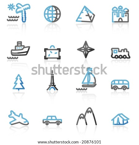 Blue and grey contour travel web icons