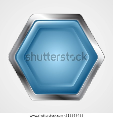 Blue and metallic hexagon shape logo. Vector button design - stock vector