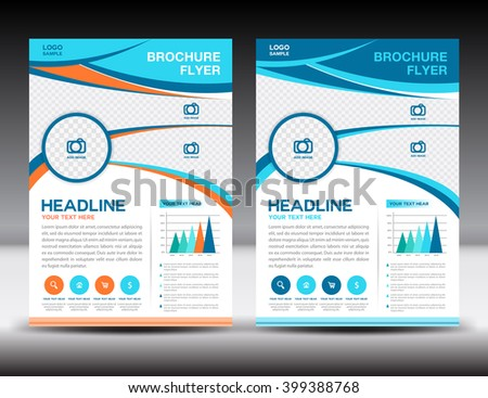 Blue and orange Annual report template design. Brochure flyer, cover template. vector illustration, corporate report. - stock vector