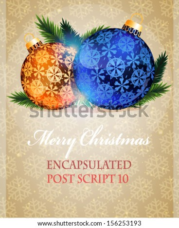 Blue and orange Christmas Baubles on a beige background with transparent snowflakes