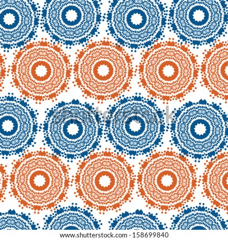 Blue and orange circle vector pattern - stock vector