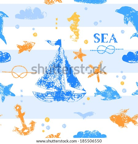 Blue and orange grunge stamp print sailboat, anchor, fishes, seagull on striped white background seamless pattern, vector - stock vector