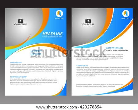 blue and orange layout template brochure modern style