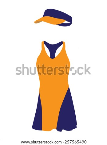 Blue and orange tennis dress with hat, cap, sportswear, sport clothing, tennis clothing - stock vector