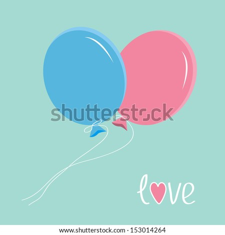 Blue and pink balloons. Love card. Vector illustration.