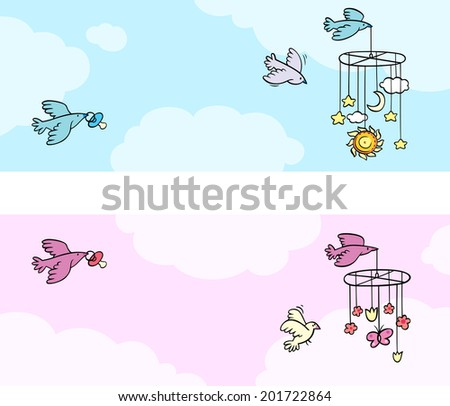Blue and pink banners with birds carrying a baby's dummy and mobiles. Vector illustration. - stock vector