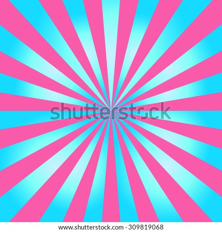 Blue and pink color burst background or sun rays background. Vector illustration - stock vector