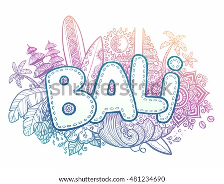 Blue pink colors vector bali sign stock vector royalty free blue and pink colors vector bali sign on hand drawn doodle style symbols of bali island thecheapjerseys Gallery
