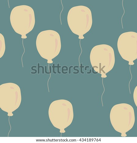 Blue and pink cute balloons - holiday vector pattern - stock vector
