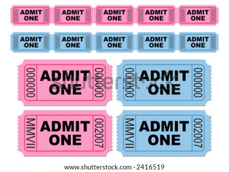 Blue and pink movie tickets. Cinema tickets. Admit one. You can change numbers and colors easily. - stock vector