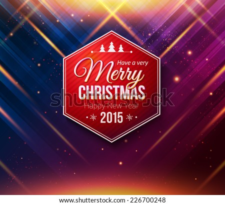 Blue and purple Christmas card. Abstract striped background with light effects. Vector illustration.  - stock vector