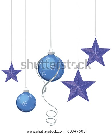 Blue and purple Christmas ornaments of blue and purple with silver ribbon - stock vector