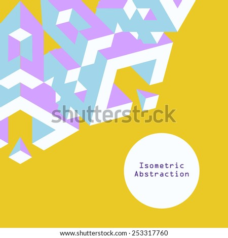 Blue and purple isometric abstraction in flat style on yellow background with text box. Vector illustration for graphic design. Design for poster, flyers, banner or game menu. - stock vector