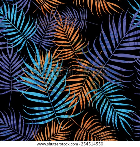 Blue and purple palm tree foliage on black background - stock vector