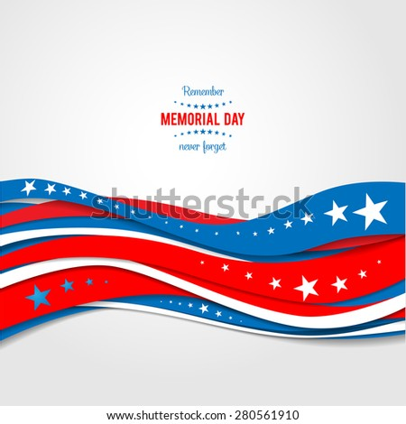 Blue and red abstract waves. Patriotic holiday background. Holiday patriotic card for Independence day, Memorial day, Veterans day, Presidents day and so on. - stock vector