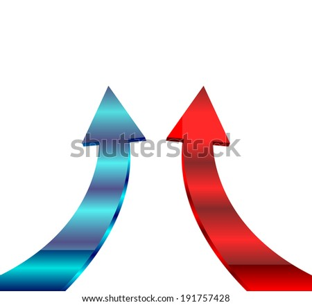 blue and red arrow showing profits and gains  - stock vector