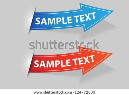 blue and red arrow / vector label