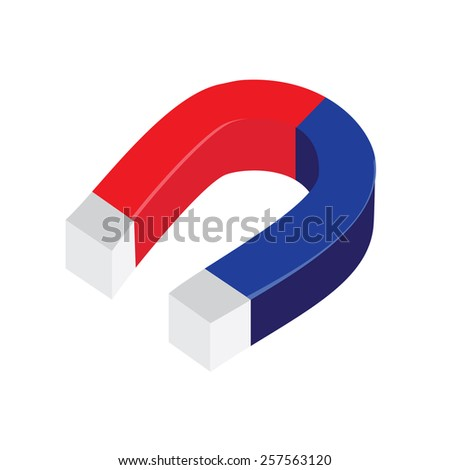 Blue and red horseshoe magnet vector isolated, magnetism, magnetize, attraction - stock vector
