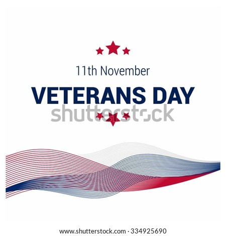 blue and red lines pattern. Happy Veterans Day. November 11th, United state of America, U.S.A veterans day design. Beautiful USA flag Composition. veterans Day poster design - stock vector