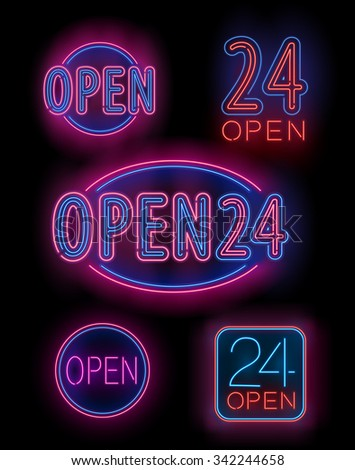Blue and Red  Neon Set of Open 24 hours Signs for Bar, Cafe,  Stores etc.  Vector illustration
