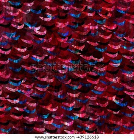 Blue and red. Overlap, overlay, transparency. Abstract seamless vector pattern. Like fish scales. Wavy lines. High detail. Easy editing. Spots of different sizes and shapes. Randomly mixed. - stock vector