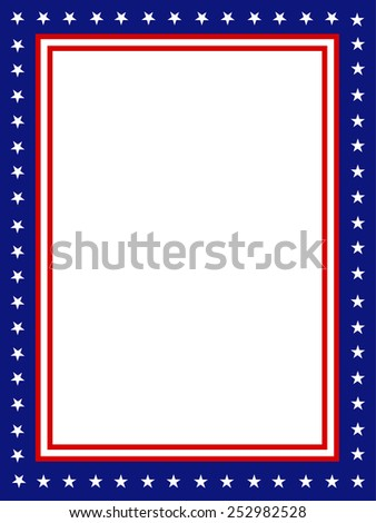 Blue and red patriotic stars and stripes page  border / frame design - stock vector