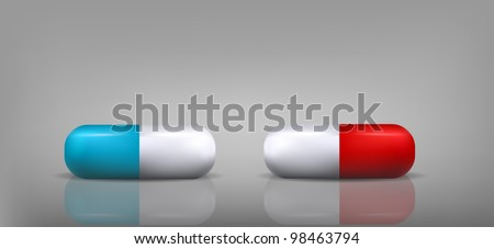 Blue and Red Pills - stock vector