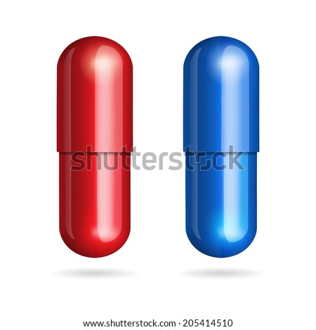 Blue and red pills on white background. Vector illustration - stock vector