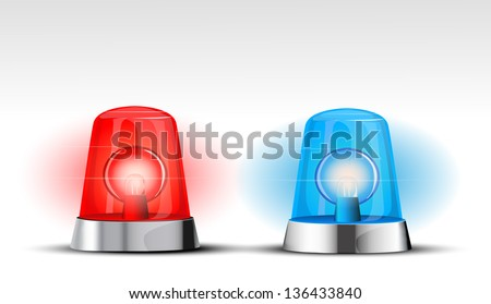 Blue and red police beacon eps10 - stock vector
