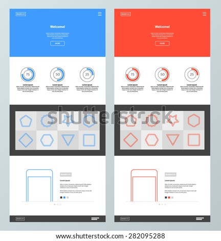 Blue and red website design template. Minimal style. Landing page. - stock vector