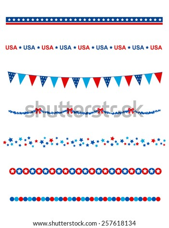 Blue and res stars and stripes divider / frame collection on white background - stock vector