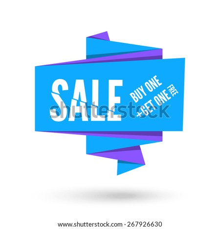 Blue and violet Origami paper speech bubble for sale. Vector ribbon banner design for advertising - stock vector
