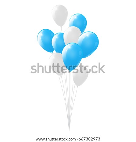 Blue and white balloons on white background. glossy balloons