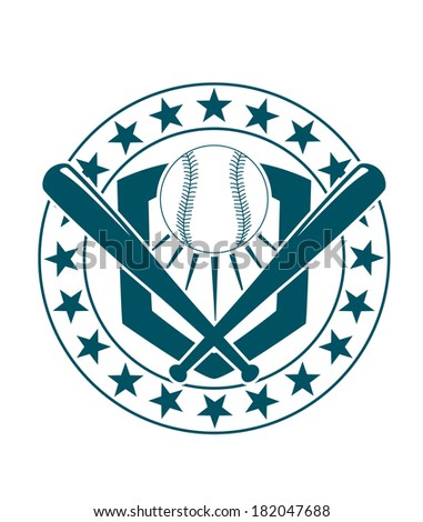Blue and white baseball emblem logo or banner with a circular frame with stars around it enclosing a ball and crossed bats for sports design - stock vector