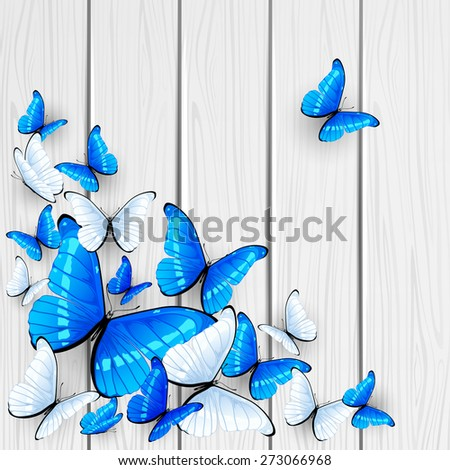 Blue and white butterflies on wooden background, illustration. - stock vector