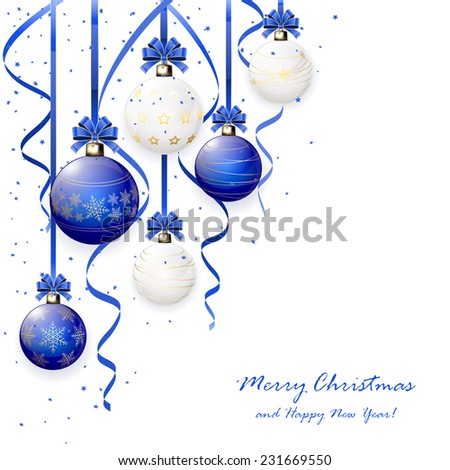 Blue and white Christmas balls with bow, tinsel and confetti, illustration. - stock vector