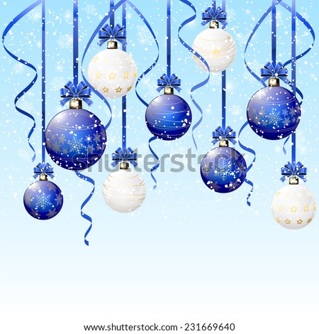 Blue and white Christmas balls with tinsel on snowy background, illustration. - stock vector