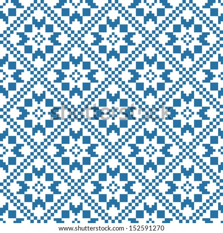 Blue and white Christmas knitted pattern with nordic style snowflakes, vector seamless illustration - stock vector