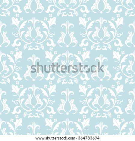 Blue and white damask seamless pattern. Victorian old style, luxury ornament. Can be used for wallpaper, wrapping paper, textile fabric,  web design - stock vector