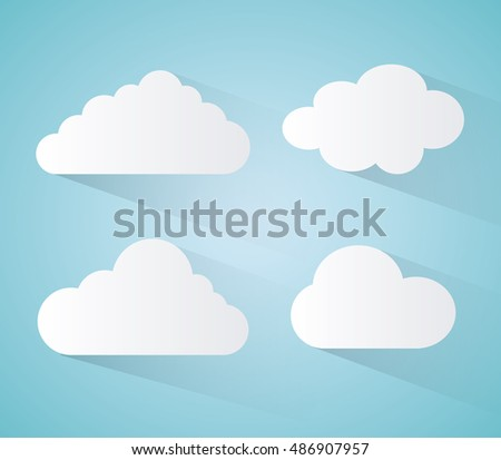 Blue and white design of cloud icon