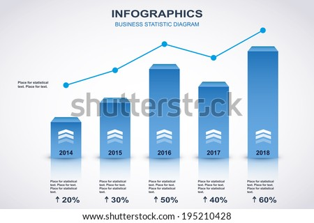 Blue and white diagram with point chart and place for statistical text. Vector - stock vector