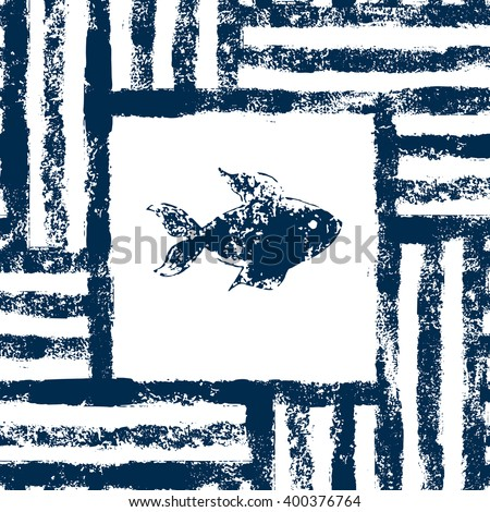 Blue and white fish in a striped frame woven grunge seamless pattern, vector - stock vector
