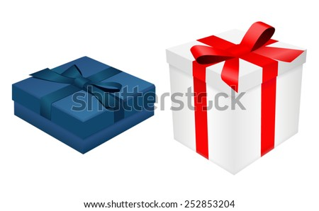 Blue and white gift boxes with ribbon -vector - stock vector