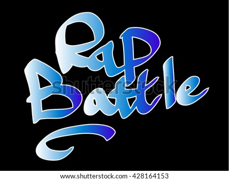 Blue and white gradient graffiti tag inscription rap battle on a black background. Vector art.