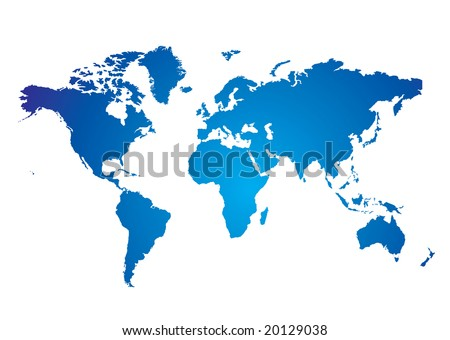 Blue and white Illustrated world map with white background - stock vector