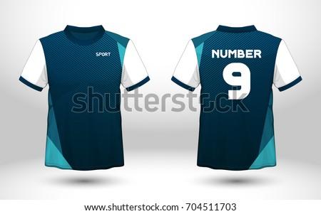 Blue white layout football sport tshirt stock vector for Design t shirt sport