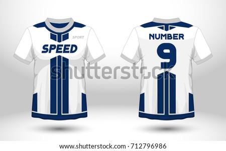 Sport T Shirt Design Templates | Blue White Layout Football Sport Tshirt Vector De Stock712796986