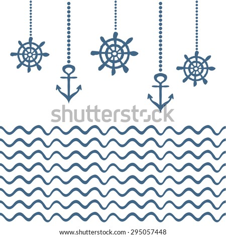 Blue and white nautical template - stock vector