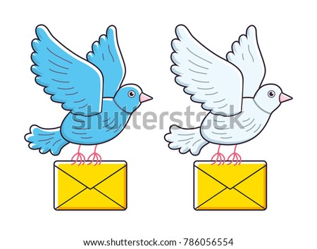 Blue and white pigeon bird flying with an envelope isolated. Dove mail vector illustration.