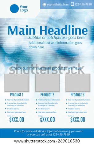 Blue and white product flyer template - stock vector